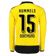 5d5cc08dc Günstige fußballtrikots BVB Borussia Dortmund 15-16 Hummels Heim Langarm  Trikot