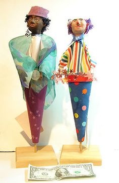 Pre Owned Handmade Firerobin Cone Puppets Clown Fortune Teller Made in Vermont | eBay