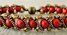 "RENAISSANCE BRACELET   15/0 seed beads Miyuki ""Dark Bronze"" (15-457D)  6mm round red howlite stone beads (Beads One - not available onlin..."