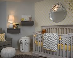 Some Pictures of Lovely Unisex Baby Room Themes with Modern Baby Furniture : Modern Unisex Baby Room Themes Simple Mirror Gray Furry Area Rug Table Lamp Gray Sofa Gray Paint Wall Artistic Wallpaper Gray Nursery Wall Mounted Table