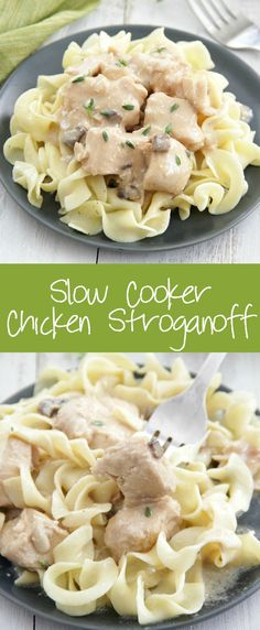 Slow Cooker Chicken Stroganoff - Make this classic dish right in your slow cooker! Chicken is cooked until tender in an easy, creamy gravy over egg noodles. Slow Cooker Chicken Stroganoff, Crock Pot Stroganoff, Stroganoff Recipe, Healthy Slow Cooker, Slow Cooker Recipes, Crockpot Recipes, Chicken Recipes, Soup Recipes, Recipies