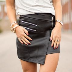 Leather skirt -> rock & roll
