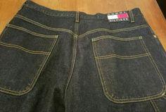 NWOT Vtg 1990's Tommy Jeans Dark Wash Carpenter Logo Loop Tommy Hilfiger 33 x 32 #TommyHilfiger #Carpenter