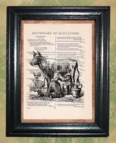 Milk Maid Milking a Cow  Vintage Dictionary Page by CocoPuffsArt, $9.99
