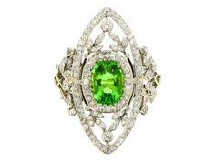Antique green garnet and diamond ring, circa 1905, yellow gold and platinum