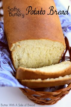 Potato Bread made with butter, milk, flour, eggs and your favorite mashed potatoes. Potato Bread is easy to make & has fantastic buttery flavor and a light texture. Yeast Bread Recipes, Bread Machine Recipes, Recipes With Potato Flour, Bread Machine Potato Bread Recipe, Buttery Bread Recipe, Recipes With Mashed Potatoes, Irish Potato Bread, Yeast Free Breads, Sweet Potato Bread