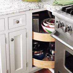 "I have this exact problem with the cabinet next to my stove..... I think an ""open"" lazy susan is the solution."