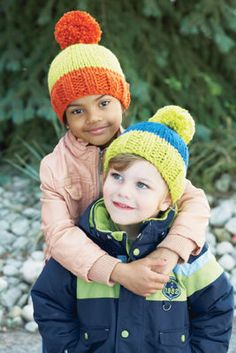 Kids' Bright Beanies (Knit), 2-4, 6-8 sizes, Softy Chunky, free Pattern