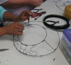 Constructing my wire hat at John C. Campbell Folk School