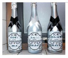 gepersonaliseerde champagnefles label voor fles kinder champagne (fles zilver gespoten