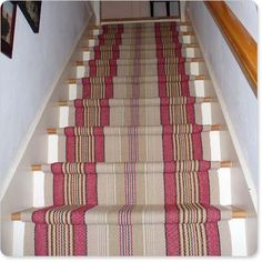 Cost Of Carpet Runners For Stairs Code: 5957613659 Hallway Carpet Runners, Cheap Carpet Runners, Stair Runners, White Stair Risers, Patterned Stair Carpet, Striped Carpets, Hall Tiles, Timber Stair, Hall Flooring
