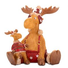 Large Sitting Reindeer & Child Resin Christmas Ornament £24.99