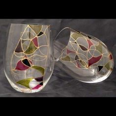 wine glass painting designs - Google Search