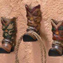cowboy boot wall hooks.  cute towel holders for the bathroom, just for decorations, in a kids room to hang up ropes, coats, etc.
