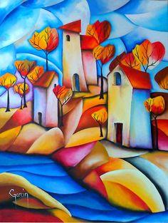 Le ruisseau du hameau - Painting, 46x61 cm ©2010 par Zac - Peinture, Huile Folk, Art Original, Scrappy Quilts, Art Sketchbook, Oeuvre D'art, New Art, Home Art, Painting & Drawing, Art Boards