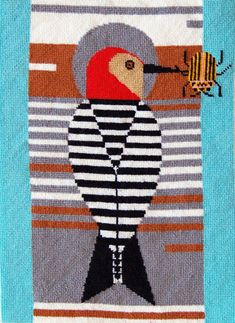 Needlepoint woodpecker charley harper design