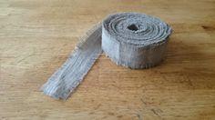 SET of 4 Linen Ribbon 7.1 Yards Natural Frayed Rustic 1 by RPlinen