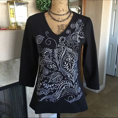 Beautiful Black and White Embroidered Chico's Top Black with very detailed white embroidery. Never worn. 3/4 length sleeves. Chico's Tops