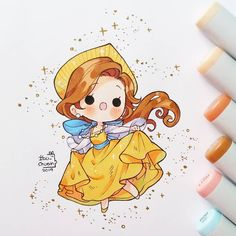 """Once upon a december""💫 Cute Disney Drawings, Disney Princess Drawings, Disney Princess Art, Cute Kawaii Drawings, Anime Drawings Sketches, Kawaii Art, Disney Princesses, Kawaii Disney, Chibi Disney"