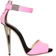 Giuseppe Zanotti sandals 2014   Giuseppe Zanotti pink patent leather ankle-strap sandal with a ...