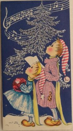 50s Glittered Singing Children Vintage Christmas Greeting Card