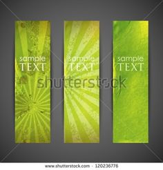 set of green banners with grunge cardboard texture