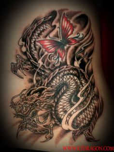The Legend Dragon Tattoo Design - like just the butterfly...not so much the dragon.