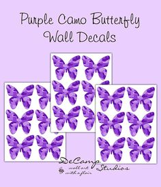 Purple Camo Butterfly Wall Decals for teen girls camouflage bedroom, baby hunting nursery, or any childrens room decor #decampstudios