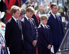 Earl Spencer, Princes William and Harry and Prince Charles gather at the funeral of Princess Diana on September 6, 1997 (BBC News & Current Affairs via  G)  Prince Charles looks sad.