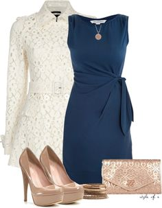 Get inspired by fashion: classy outfits dvf dress and lace coat my style мо Komplette Outfits, Classy Outfits, Fashion Outfits, Womens Fashion, Stylish Outfits, Blue Dress Outfits, Heels Outfits, Navy Blue Dresses, Grunge Outfits