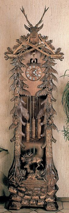 Eight Day Chiming Grandfather Hunter's Cuckoo Clock with Hand-carved Deer Family, Buck, and Trees
