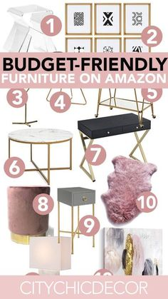 These glam, affordable furniture items from Amazon will blow you & your house guests away. From glam decor to stunning velvet chairs, you�ll be shocked with how budget-friendly these things are! #furnituredesign #furnitureideas #affordablefurniture #affor Glam Living Room, Living Room Decor, Bedroom Decor, Bedroom Ideas, Decor Room, Glam Room, Master Bedroom, Bedroom Bed, Bedroom Designs