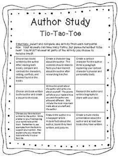 Author Study Tic-Tac-Toe.  Follow my TPT store and get yours today for FREE!!