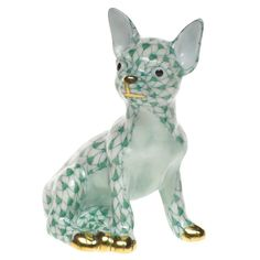 HEREND, CHIHUAHUA PUPPY DOG PORCELAIN FIGURINE, GREEN FISHNET, $280 RETAIL #HEREND