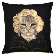 Marilyn Monroe Cat Pillow Cover - 18x18 Belgian Tapestry Pillow Cover - Cat Cushion Cover - PC-5254