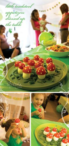 we created the cutest toadstool appetizers. These are simply hardboiled eggs with tomato tops, garnished with dots of mayo and served on a b...