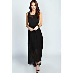 Boohoo Claire Mesh Insert Woven Maxi Dress