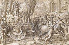 """Histoire de la reine Artémise """"Le Char des licornes"""", Niccolò dell' Abate"""