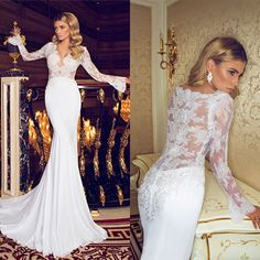 New Fashionable 2014 Beaded Pearls Lace V-Neck See Through Wedding Gowns Backless Long Sleeves Sexy Lace Mermaid Wedding Dresses US $167.89