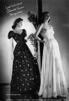 1930s 40s evening gowns long dresses formal floral black white puff sleeves full skirt glam photo print ad models