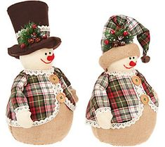 Set of 2 Snowmen with Hats and Plaid Coats by Valerie — QVC Pre Lit Christmas Tree, Diy Christmas Gifts For Family, Christmas Snowman, Christmas Decorations To Make, Christmas Crafts, Christmas Ornaments, Holiday Decor, Christmas 2019, Sock Snowman