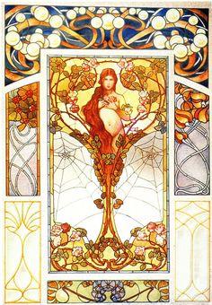 art nouveau designs | frieze tile: Art Nouveau Stained Glass Designs