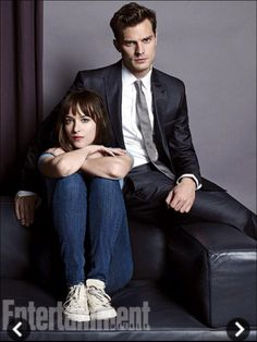 Ana and Christian, I like their outfits... Very true to the books