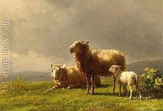 80% off a Hand Made Oil Painting Reproduction of Sheep in a Meadow, one of the most famous paintings by Jan Bedijs Tom. Free certificate of authenticity free shipping.