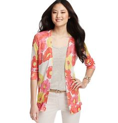 Loft - LOFT Tops - Floral Spritz Print Sheer 3/4 Sleeve Cardigan; to go with my yellow dress!