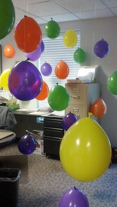 Balloon a friends office! I did this last night for my friends birthday: