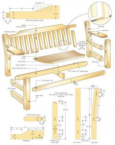Classic Garden Bench - All About Outdoor Furniture Plans, Woodworking Furniture Plans, Log Furniture, Woodworking Projects Diy, Diy Wood Projects, Youtube Woodworking, Woodworking Patterns, Woodworking Supplies, Woodworking Classes