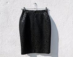 80s Black Pencil Skirt Designer Skirt Escada Skirt by tomacrafts €26