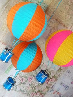 Hot air balloon kids party // my sis-in-love made a version of these b/c I couldn't make them ahead/travel w/them and they were very cute. used boxes for the basket & jute instead of ribbon