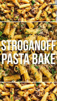 This pasta bake recipe is a great way to use up leftover roast beef! A slimming-friendly Stroganoff pasta bake that's sure to become a family favourite. Replace the roast beef with ground beef, or leftover roast chicken. Feel free to only use sour cream if you prefer.